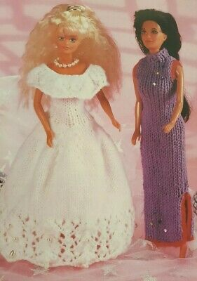 KNITTING PATTERN SINDY BARBIE TYPE DOLLS CLOTHES BALL GOWN & DRESS in DK.