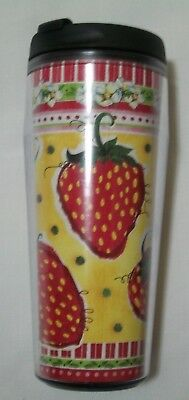 Starbucks 2004 Barista Series 16oz Strawberrys Coffee Cup Travel Tumbler & Lid