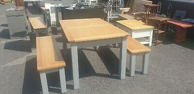 Grey And Oak Extending Dining Table With 2 Benches Delivery Available