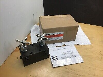 SPX Power Team 9642 manifold block with 2 needle valves NEW!