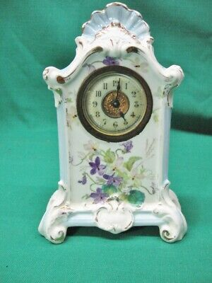Antique Ansonia Royal Bonn Ceramic Clock for Parts or Repair; Very Clean