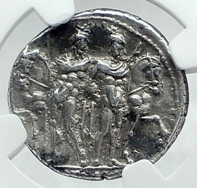Roman Republic Trojan Troy HERO Family Ancient Silver Coin GEMINI NGC i78635