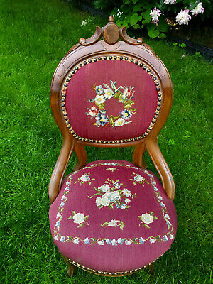 ORNATE VICTORIAN CARVED WALNUT LADIES' PARLOR CHAIR, w/ NEEDLEPOINT SEAT & BACK