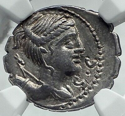 Roman Republic Ancient 79BC Silver Coin DIANA & VICTORY CHARIOT NGC i78643