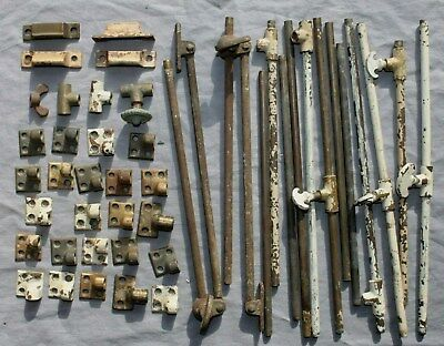 LOT Antique Vintage Casement Window Stay Hold Brackets & hardware ( huge lot )
