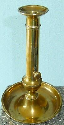 Antique Solid Brass Push Up CANDLEHOLDER - 19TH CENTURY