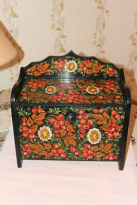 Russian Khokhloma hand painted Lacquered Lid Folk Art Floral Breadbasket Box