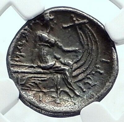 Histiaia in Euboia Nymph Galley Authentic Ancient Silver Greek Coin NGC i78671