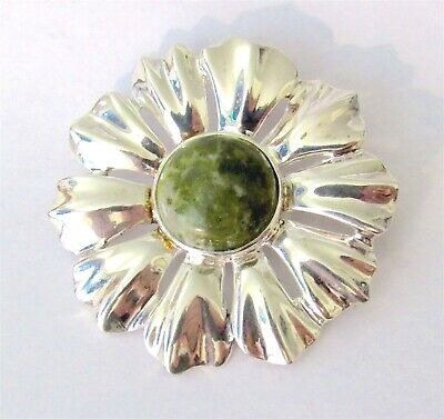 VTG IRELAND 925 Sterling Flower Pin/Pendant w/ Green Connemara Marble Gemstone