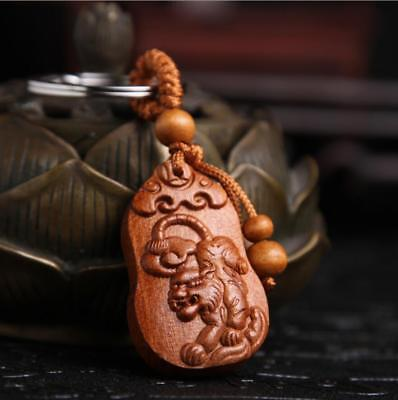 Asian Collection China Handcarved Wood Carving Tiger Pendant Key Chain Statue