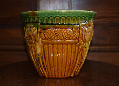 Antique Vtg Weller Art Pottery, Arts And Crafts Style Blended Glaze Jardiniere