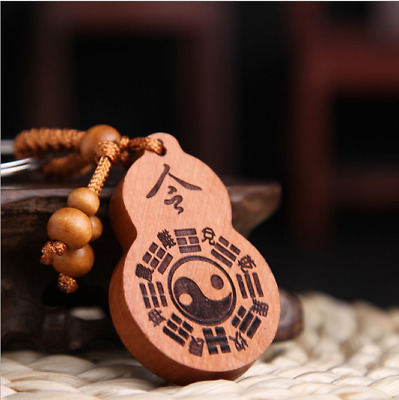 Wood China Handcarved Weave Pendant Car Eight Diagrams Gourd Key Chain