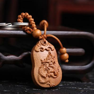 Asian Collection China Handcarved Wood Carving Dragon Pendant Key Chain Statue