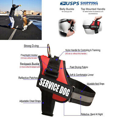 Reflective Service Dog In Training Vest Dog Harness Padded Label Patches S-XL US