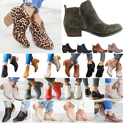 AU Women Low Mid Block Heel Ankle Boots Ladies Chunky Booties Chelsea Shoes Size
