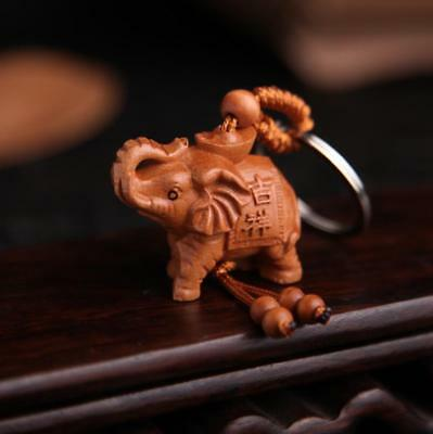 Asian China Handcarved Wood Carving Elephant Pendant Key Chain Statue