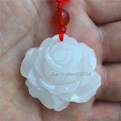 Natural White Afghan Jade Carved Cute Rose Flower Lucky Pendant + Rope Necklace