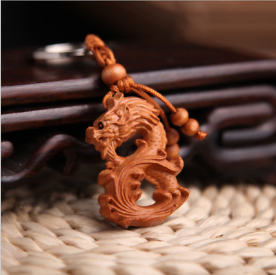 Wood China Handcarved Statue Weave Pendant 3D Zodiac Dragon Car Key Chain