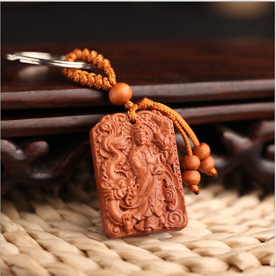 Wood China Handcarved Weave Pendant Car Dragon Guanyin Mercy Key Chain