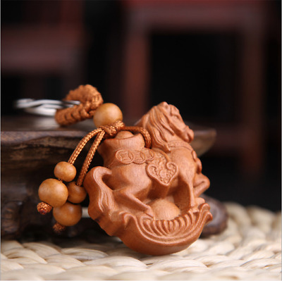 China Handcarved Weave Wood Pendant Car Zodiac Ingot Coin Horse Key Chain