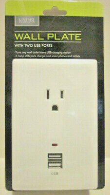 Living Solutions Wall Plate With Two Usb Ports
