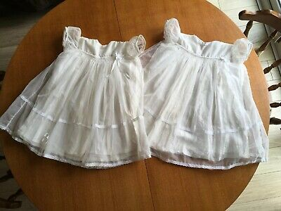 Two Delightful Hand Made Vintage Christening Dresses Approx Birth To 3 Months
