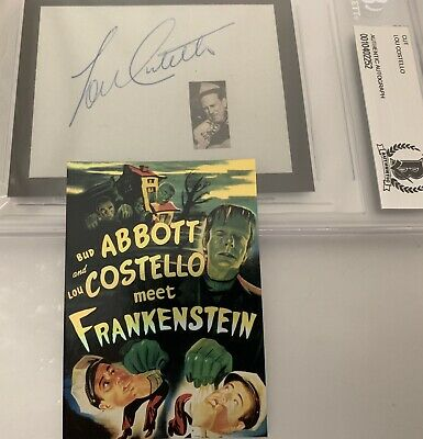 Lou Costello Signed Autographed Card BECKETT AUTHENTICATED ABBOTT FRANKENSTEIN