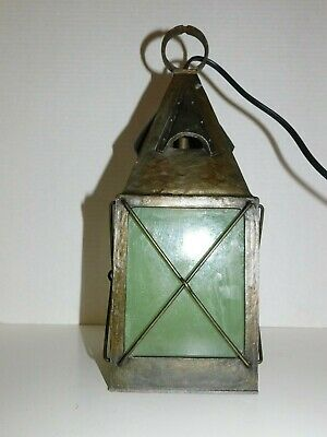 Antique Arts & Crafts Copper brass Glass Pendant Light Fixture Lantern Mission