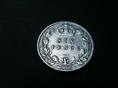1906 Edward VII Silver Sixpence Coin