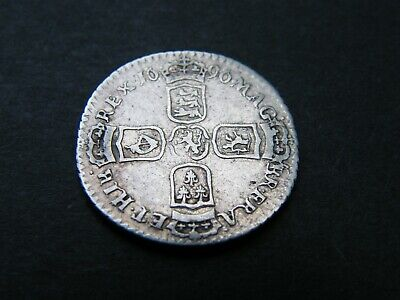 1696 William III 3rd Silver Sixpence Coin York Mint