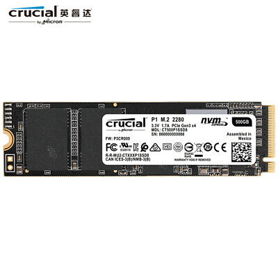 Micron Crucial P1 500GB SSD NVMe M.2 2280 Internal Solid State Drive R 2000MB/s
