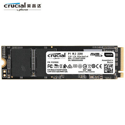 Micron Crucial P1 1TB SSD NVMe M.2 2280 Internal Solid State Drive Read 2000MB/s