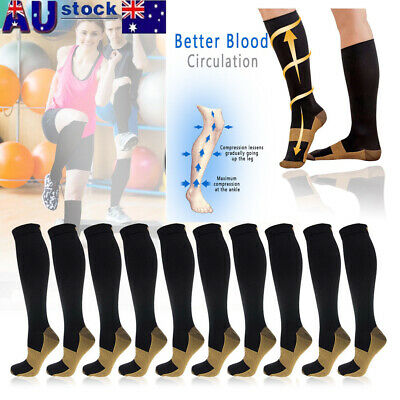 3 Pairs Miracle Copper Compression Socks Anti Fatigue Unisex Travel DVT Comfort
