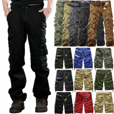 Men's Army Camo Combat Military Trousers Tactical Work Cargo Shorts / Long Pants