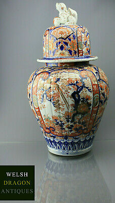 Museum High Quality Japanese 19Th Meiji Period Large Imari Temple Jar Foo Dog