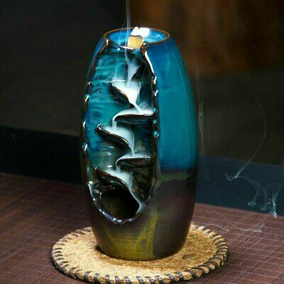 Ceramic Mountain Waterfall Smoke Backflow Incense Burner Censer Cones Holder SRE