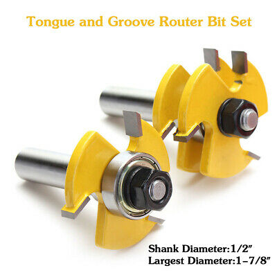 """NEW 2x Tongue and Groove Router Bit Set 1/2"""" Shank T-type  Useful Cutter Hot"""