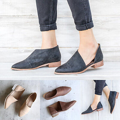 Womens Summer Retro Autumn Breathable Flats Loafers Slip-On Pointed Toe Shoes