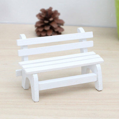 BL_ FX- Fairy Garden Bench Wooden Chair Doll House Miniature Furniture Ornament