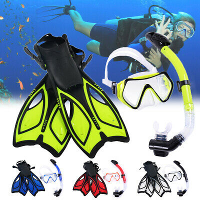 19b7a61a086 Adult Mask + Snorkel + Fins/Flippers PVC Snorkelling Diving Silicon Combo
