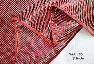 3K 200gsm Red Fabric Made with Kevlar Carbon Fiber Twill Aramid Carbon 30cm 1m