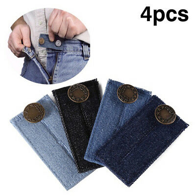 4pcs Jeans Button Waistband Belt Adjustable Waist Extender Maternity Washable EO