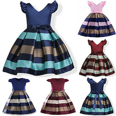 Kids Girls Formal Dress Princess Party Pageant Summer Hepburn Tutu Dresses Retro