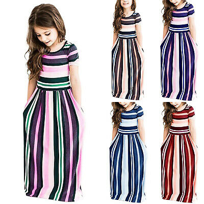 Kids Girls Striped Shirt Dress Summer Flower Party Casual Maxi Sundress 2-9 Year