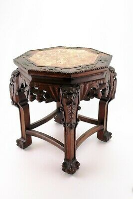 Chinese Carved Rosewood Occasion Table Marble Top Plant Stand 18.89 inch E/0105