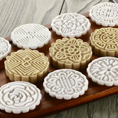 75g Mooncake Mold + 8 Flower Stamps DIY Baking Pastry Round Moon Cake Mould