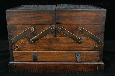 """11"""" Old China Huanghuali Wood Exquisite Plum blossom Storage Jewelry Box Statue"""