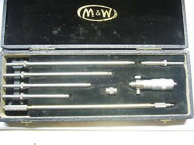 """'Moore & Wright' Inside Micrometer Comb' Set 2""""- 8"""" + Case   (4313)"""