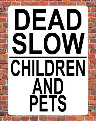 Red Slow Down Road Safety Aluminium Composite Sign 400mm x 270mm White.