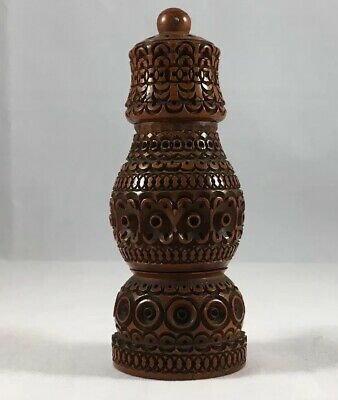 RARE 19th Century Coquilla Nut Stanhope Spice Jar Shaker Carved Treen